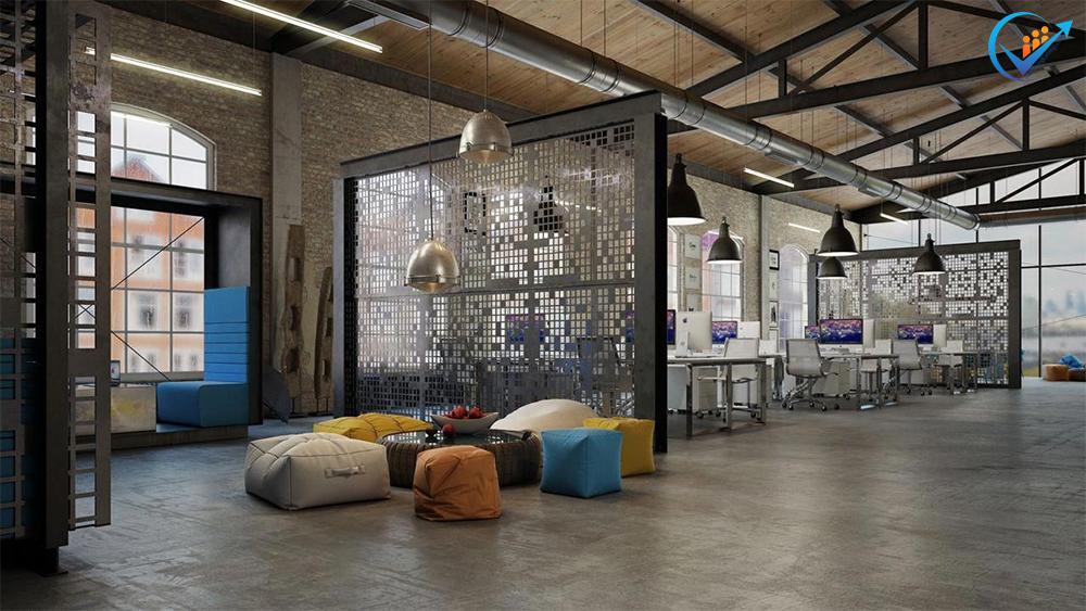 Thiết kế văn phòng làm việc mang phong cách công nghiệp