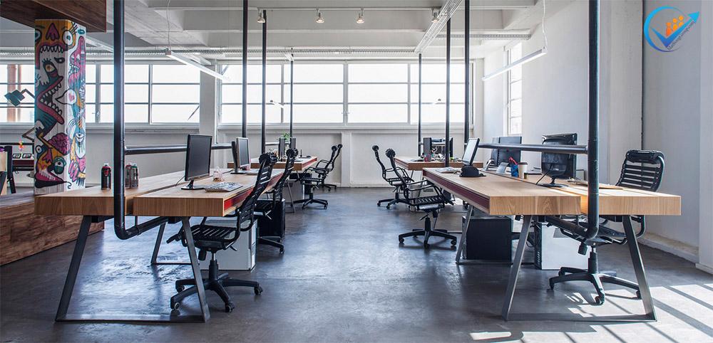 Thiết kế văn phòng làm việc phong cách công nghiệp